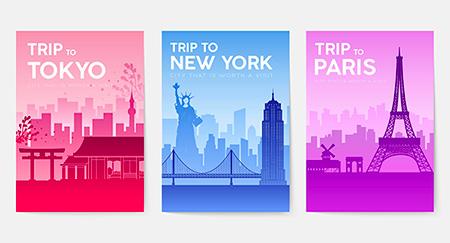 Tre poster vettoriali che pubblicizzano un viaggio a Tokyo, Parigi e New York