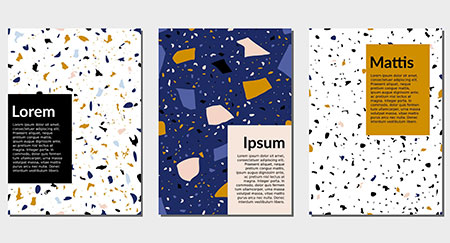 Design templates with terrazzo textur in blue, yellow, black and white