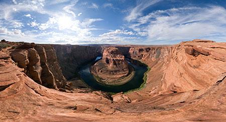 360-Grad-Panoramabild des Horseshoe Bend in der Nähe von Page in Arizona (USA)