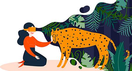 Illustrazione di donna che accarezza un leopardo in RV