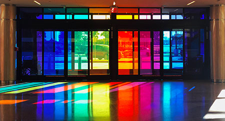 Rainbow coloured windows