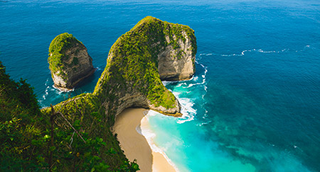 Aerial view of cliffs and beach in Nusa Penida, Indonesia