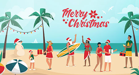 Ilustración vectorial de personas que están celebrando la Navidad en verano en el hemisferio sur