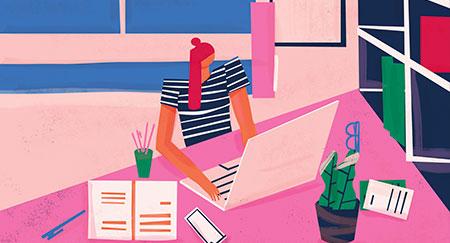 Illustrazione colorata di lavoratore a distanza in un ambiente di ufficio domestico.