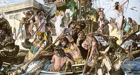 Ägyptische Prinzessin beim Jagen von einem Lastkahn auf dem Nil. Handkolorierter Halbtondruck einer Illustration.