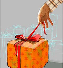 Man opening gift Photo Stock