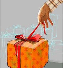 Mann-Eröffnung-Geschenk Stockfoto