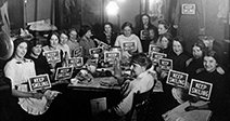 Seamstresses on Lunch Break, Holding Keep Smiling Signs, Circa 1914Stock Photo Stock Photo