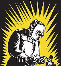 Illustration of a welder metal worker welding  with welding torch and visor done in retro woodcut style. Stock Photo