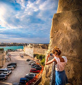 smartphone photographer girl - Otranto - Apulia - Italy - Salento Stock Photo