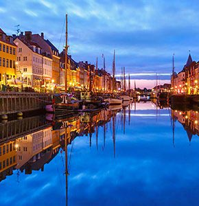 Panorama of Nyhavn in Copenhagen, Denmark. Stock Photo
